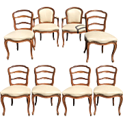 Set of 8 Antique French Provincial Petit Ladder Back Dining Chairs - White Leather