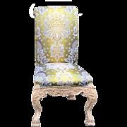 Pair of Venetian Style Chairs w Green Silk Lampas