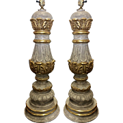 Pair of Tall Gilt Wood Designer Table Lamps