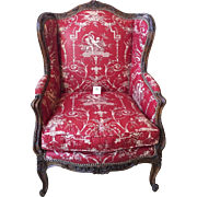 Antique French Louis XV Style Wing Back Chair w Dessin Fournir Red Toile