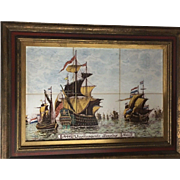 Rare Antique Delft Pottery 6 Tile Ship Picture Tableau Vierdaagse Zeeslag 1666