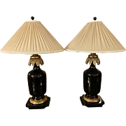 Pair of Black Lacquer & Gilt Wood Designer Table Lamps