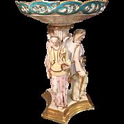 Rare Antique Copeland Porcelain Figural Centerpiece w Three Angels