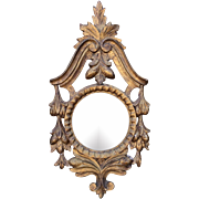 Antique Carved Louis XV Style Giltwood Convex Mirror