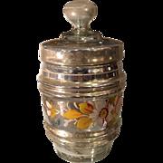 Unusual Antique Hand Painted Mercury Glass Biscuit Jar Ice Bucket