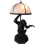 Rare Antique French Art Deco Bronze Monkey Lamp by Max Le Verrier