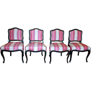 Set of 4 Black Lacquered Louis XV Style Silk Stripe Designer Chairs