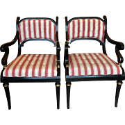 Pair of Black Lacquered Regency Style Designer Arm Chairs