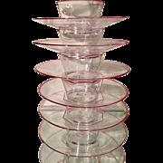 Set of 6 Antique Salviati Venetian / Murano Glass Bowls & Underplates