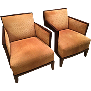 Pair of Nancy Corzine Art Deco Style Designer Club Chairs