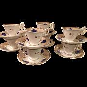 Set 8 Antique Mid 19C English Porcelain Coffee Cup & Saucers - Blue Maple Leaf
