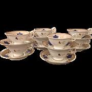 Set 8 Antique Mid 19C English Porcelain Tea Cup & Saucers - Blue Maple Leaf