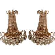 Pair of Spectacular Austrian Crystal Chandelier Wall Light Sconces