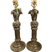 Pair of Antique Art Deco French Bronze Lamps w Three Panthers