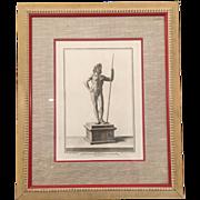 Rare Antique 18th C Male Nude Engraving Print by Francesco Cepparoli