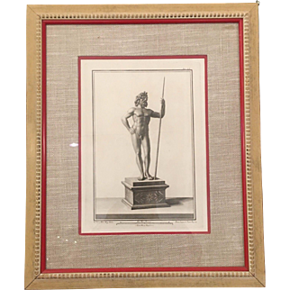 Rare Antique 18th C Male Nude Engraving Print by Francesco Cepparoli