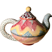 Superb Signed MacKenzie Childs Hand Painted Pottery Teapot