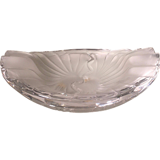 Unusual Signed Lalique French Crystal Sunburst Bowl 8.5""