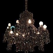 Elegant Black Murano Glass Crystal Chandelier