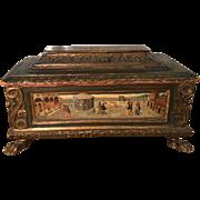 Antique Hand Painted Italian Scenic Casket Box