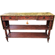 Minton Spidell Red Rustic Drop Leaf Console or Sofa Table w Faux Marble Top