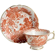 Fine Royal Crown Derby Porcelain Cup & Saucer - Red Aves 1 of 8