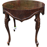 Superb Italian Oyster Burl Wood Designer Side or End Table w Apron