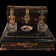 Antique Napoleon III Rosewood Ink Stand Document Box