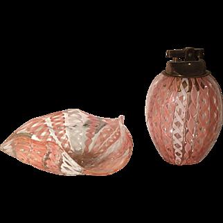 Vintage Venetian Art Glass Cigarette Lighter & Bowl or Ashtray - Latticino