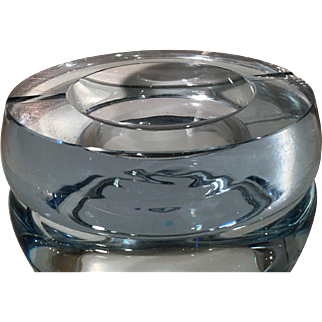 Vintage MCM Strombergshyttan Sweden Ice Blue Art Glass Ashtray Bowl ~Signed