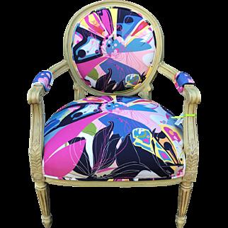 Louis XVI Style Cane Back Arm Chair - Diane Von Furstenberg Fabric