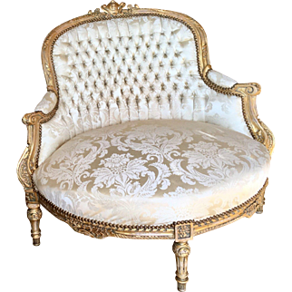 Antique French Louis XVI Gilt-wood Marquis Chair