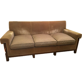 Exquisite Nancy Corzine Art Deco Designer Tweed & Mohair Sofa