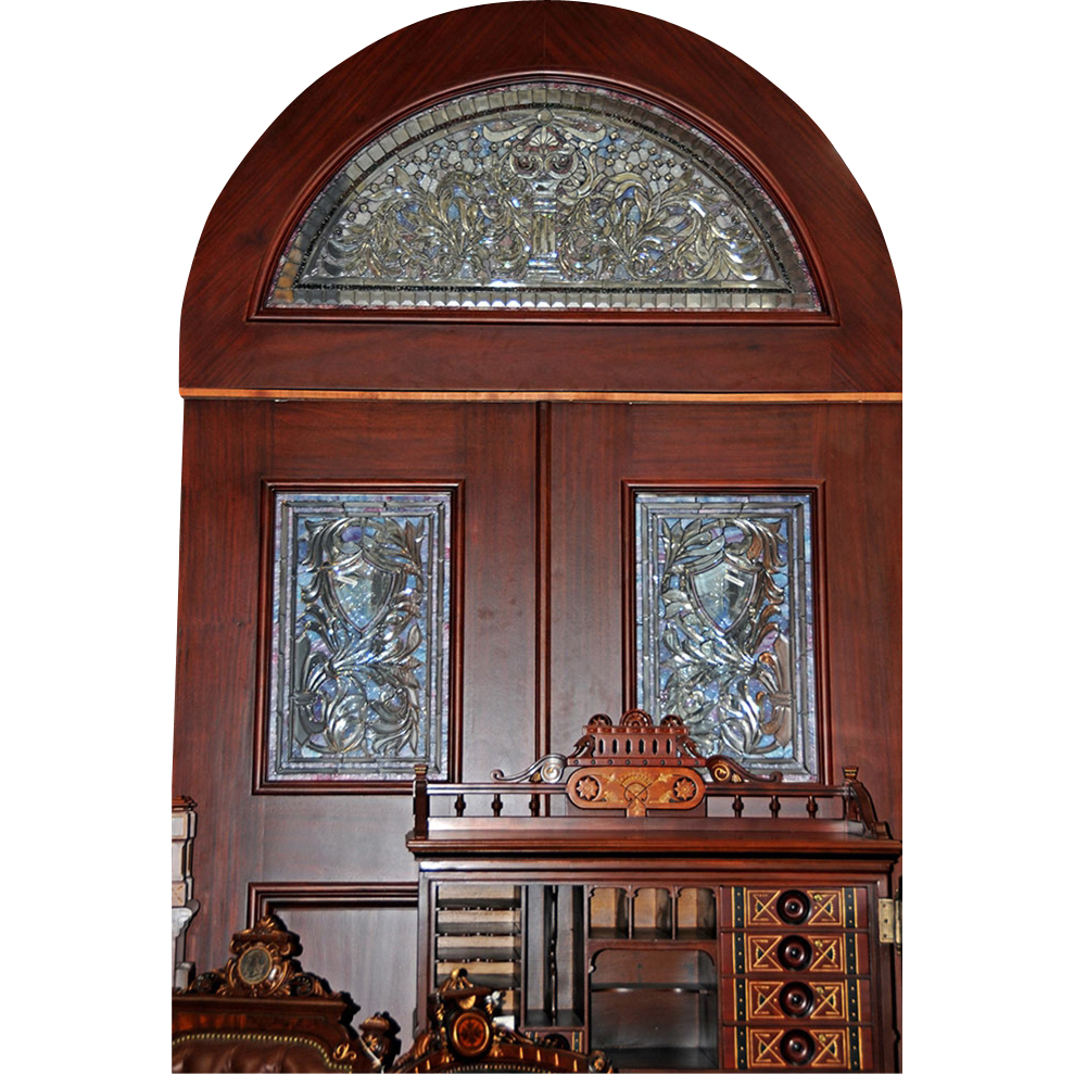 00322 Pair of Mahogany Entry Doors with Stained and Beveled Glass Insets