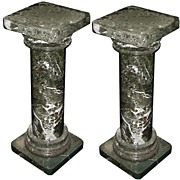 0400  Pair of Ionic Green Marble Columns
