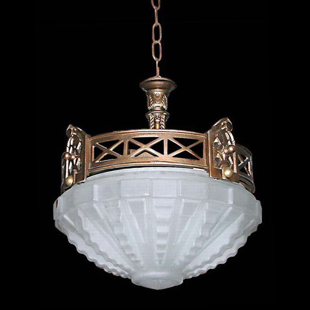 4459 Beautiful Art Deco Hanging Light Fixture with a Heavily Frosted Dome