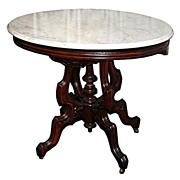 1118 American Walnut Renaissance Marble Top Antique Table