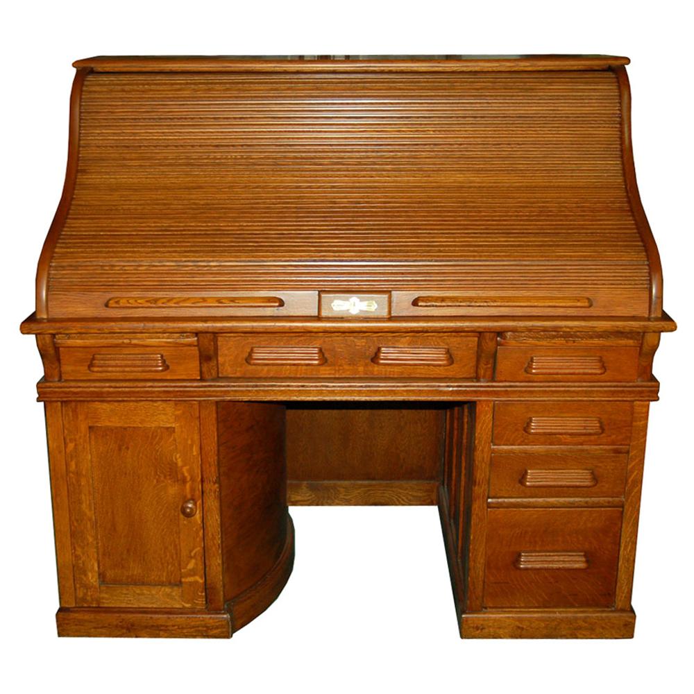 19th c american oak rolltop desk with rotary pedestal c1890 - Rolltop Desk