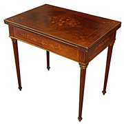 1142 Antique French Inlaid Side / Game Table