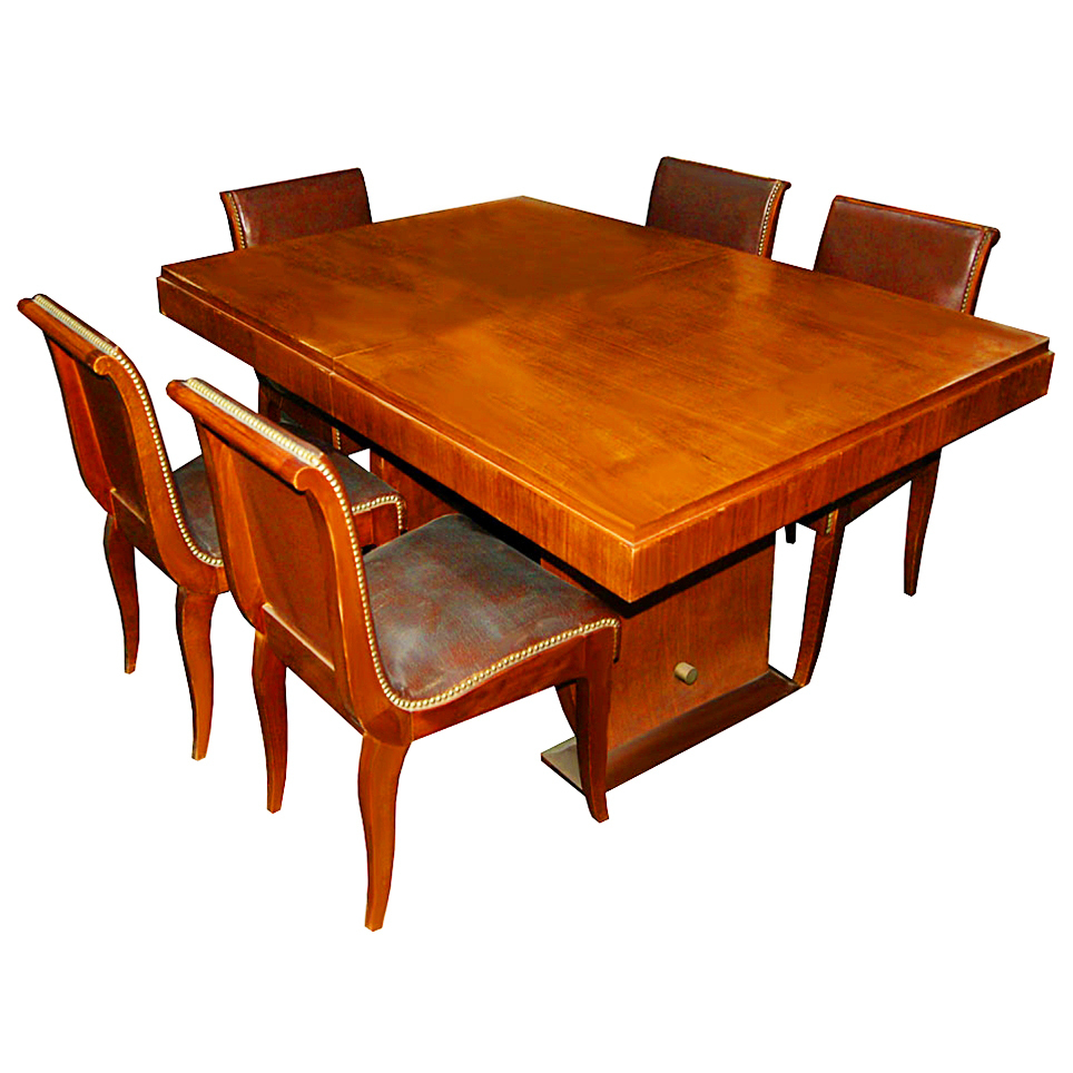 1161 11-Piece French Walnut Burl Art Deco Dining Suite c.1920