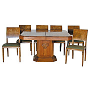1163 Art Deco Dining Set in burl wood, circa 1925