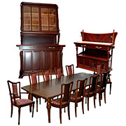 1179 13-Pc. French Art Nouveau Mixed Wood Dining set by Hector Guimard