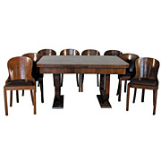 1182 Art Deco walnut and burl 11 pc. dining room suite c.1930