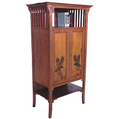 119 Unusual Oak Arts & Crafts Cabinet c. 1910