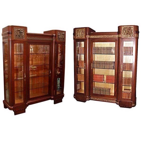 4968 Matched Pair of Italian Mahogany Curio Cabinets with Cast Bronze Cupid Plaques