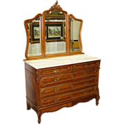 1198 French Walnut Dresser with 3-Part Mirror