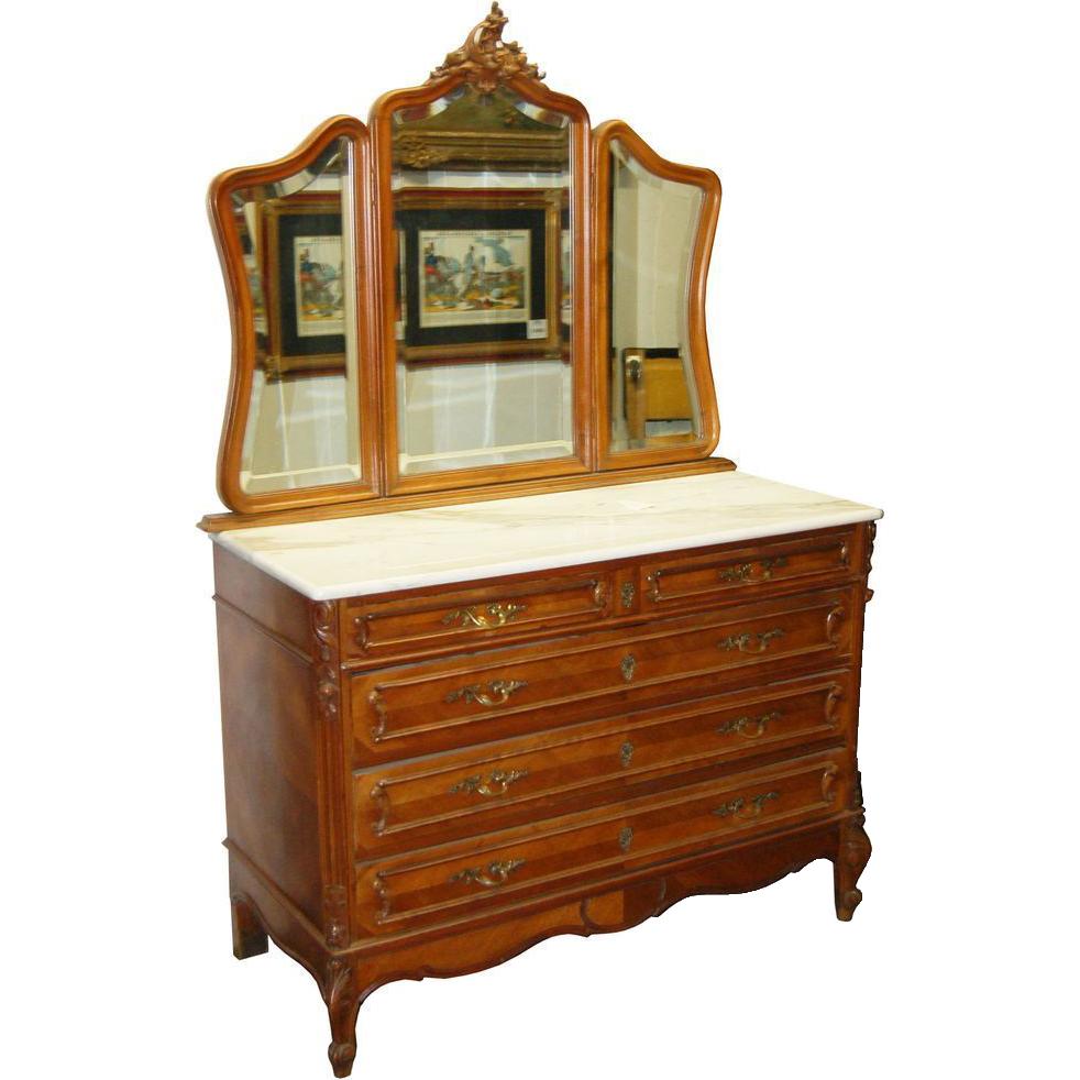 1198 French Walnut Dresser with 3-Part Mirror