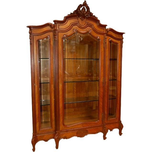 1202 French Rosewood Three-Door Curio Cabinet