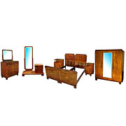 1209 Art Deco Walnut & Burl 6-Pc. Bedroom Suite c.1920