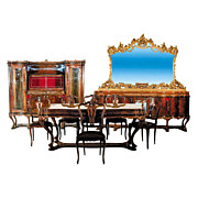 1244 1920s Italian Walnut & Burl 9-Pc. Dining Suite with Fabulous Carvings